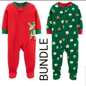 CARTER'S Holiday footed pajama bundle 12M NWT